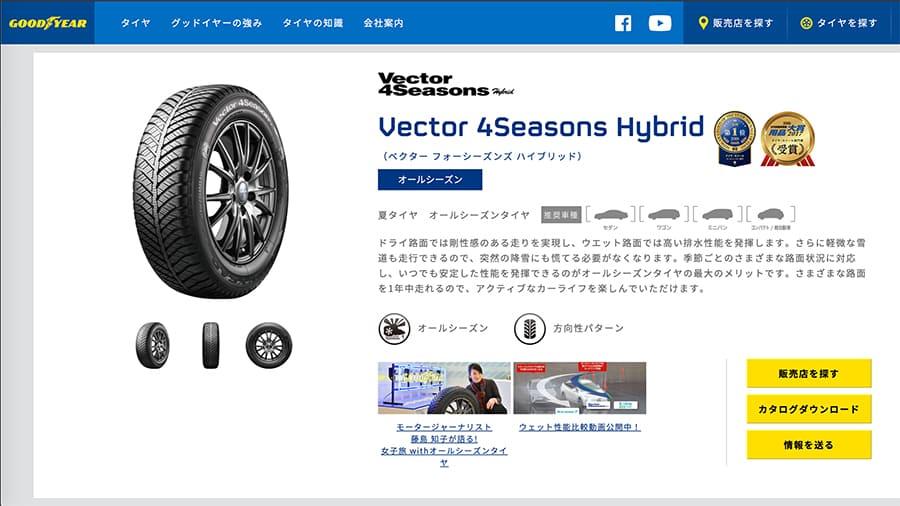 ベクター フォーシーズンズ ハイブリッド [Vector 4Seasons Hybrid]|オールシーズンタイヤ|日本グッドイヤー キャプチャ画像