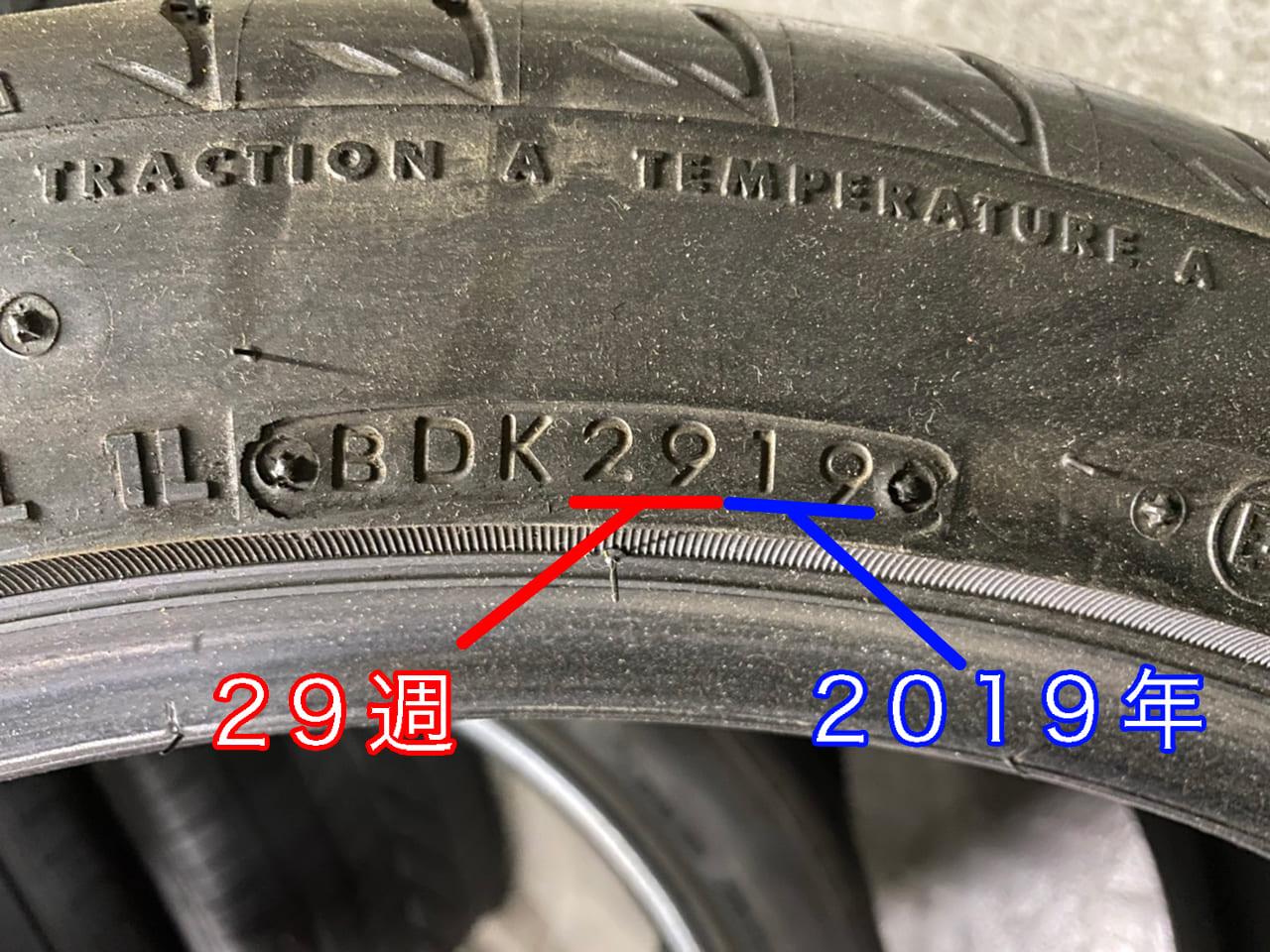 タイヤの製造年数表示のイメージ